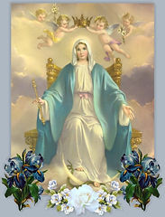 mary-queen-of-heaven-surrounded-by-angels-seated-on-her-throne-being-crowned-as-queen-by-the-angels-pamphlets-to-inspire