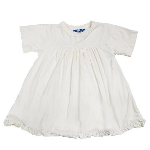 KicKee Pants -Basic Classic Short Sleeve Swing Dress in Natural