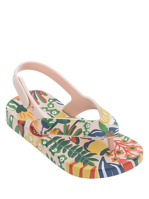 Mini Melissa Ipanema Pink Floral Print Sling Back Sandal, Baby/Toddler