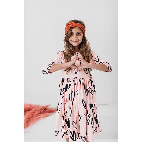 Mila & Rose - Peach Hand Drawn Heart Pocket Twirl Dress