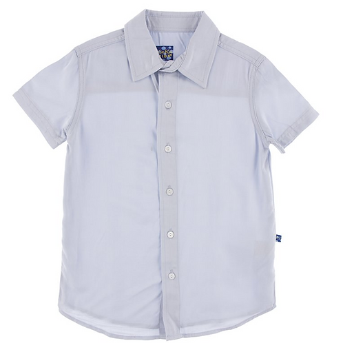 KicKee Pants - Solid Short Sleeve Woven Button Down Shirt in Dew