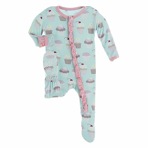 Kickee Pants - Basic Muffin Ruffle Footie with Zipper (Summer Sky Cupcakes)