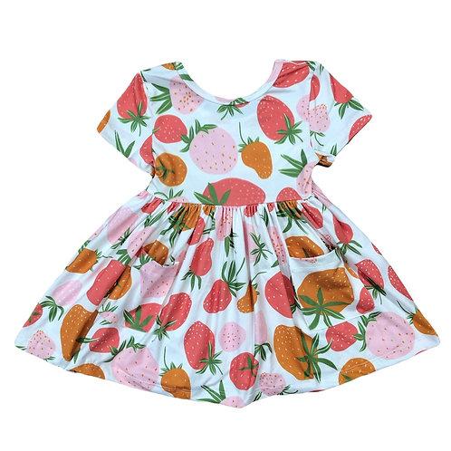 Mila & Rose Berry Sweet Short Sleeve Pocket Twirl Dress