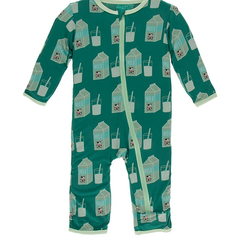 Kickee Pants - Print Coverall with Zipper (Ivy Milk)