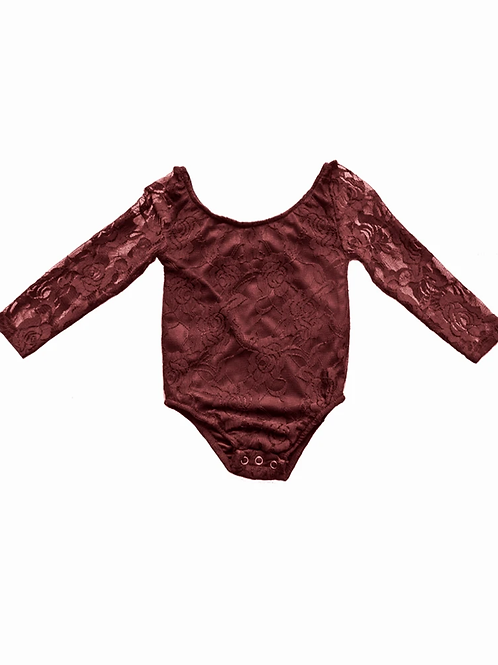 Bailey's Blossoms - Lace Leotard in Wine