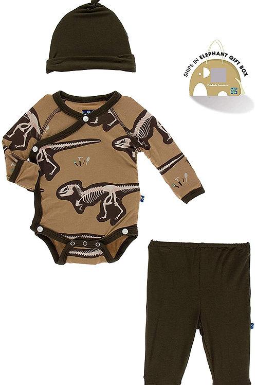 KicKee Pants Gift Set - Newborn (Tannin T-Rex Dig)