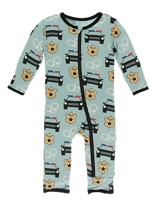 Kickee Pants - Print Coverall with Zipper in Jade Law Enforcement