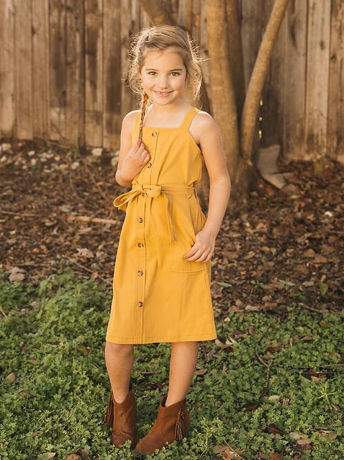 Peyton Bre Sawyer Button Front Mini Dress - Mustard