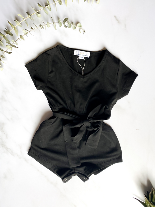 Bailey's Blossoms - Samantha Short Sleeve Romper (Noir)