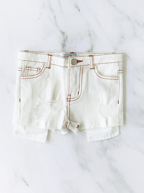 Bailey's Blossoms - Skylar Shorty Shorts (White Denim)