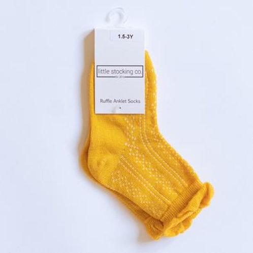Little Stocking Co Yellow Anklet Socks