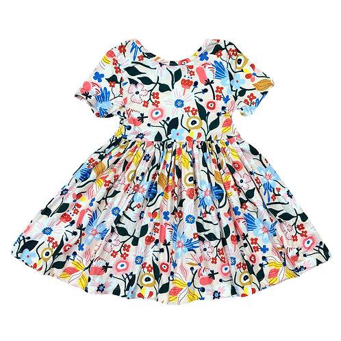 Mila & Rose Flower Garden Short Sleeve Twirl Dress