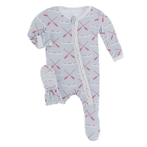 Kickee Pants - Print Muffin Ruffle Footie with Zipper in Dew Paddles and Canoe