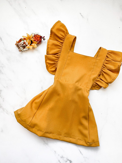 Bailey's Blossoms - Victoria Ruffle Back Suspender Dress in Mustard