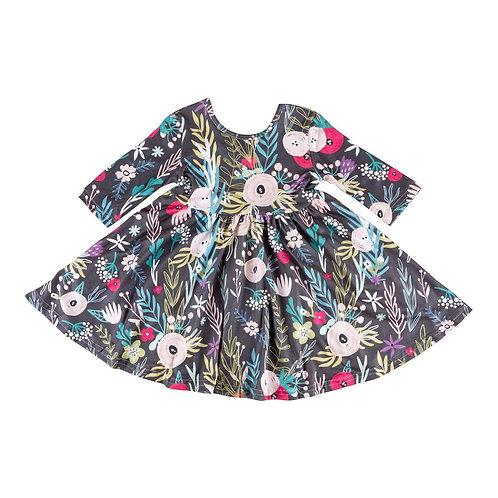 Mila & Rose Black Woodland Floral Twirl Dress
