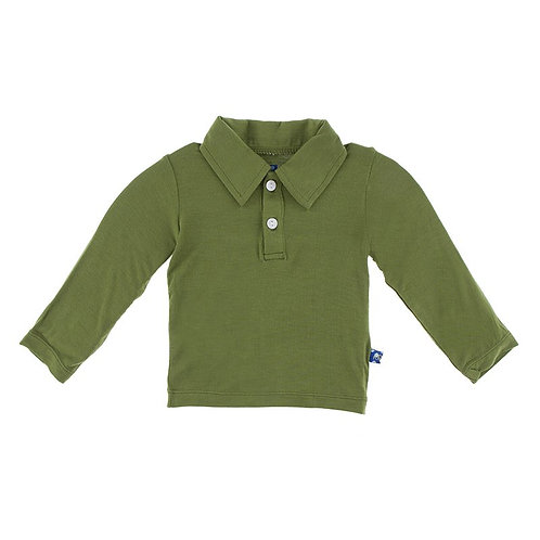Kickee Pants Long Sleeve Polo - Moss
