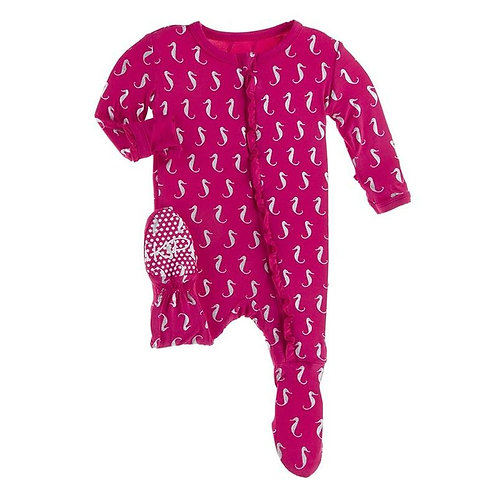 Kickee Pants - Print Muffin Ruffle Footie w/ Zipper in Prickly Pear Seahorses