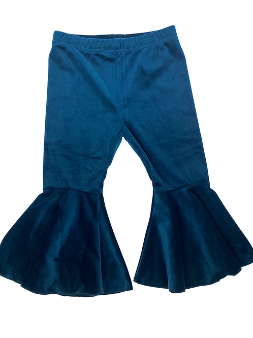 Bailey's Blossoms - Lina Velour Bell Bottoms (Sleigh Blue)