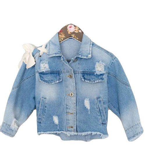 MaeLi Rose Jean Jacket with Bow