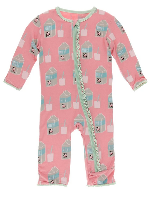 Kickee Pants - Print Muffin Ruffle Coverall with Zipper (Strawberry Milk)