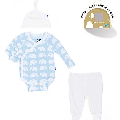KicKee Pants -Essentials Kimono Newborn Gift Set in Pond Elephant
