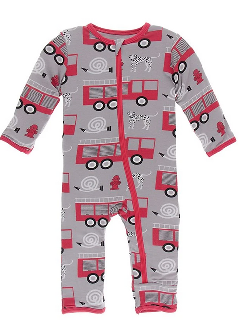 Kickee Pants - Print Coverall with Zipper in Feather Firefighter