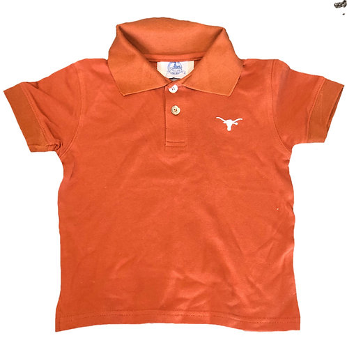 Texas Golf Shirt (Burnt Orange/White)
