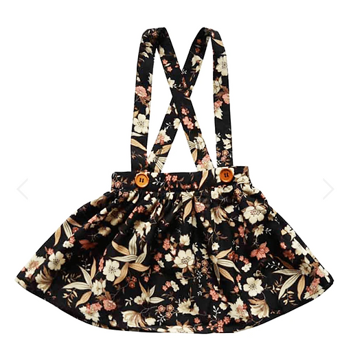 Bailey's Blossoms - Daphne Pleated Suspender Skirt (Black Floral)