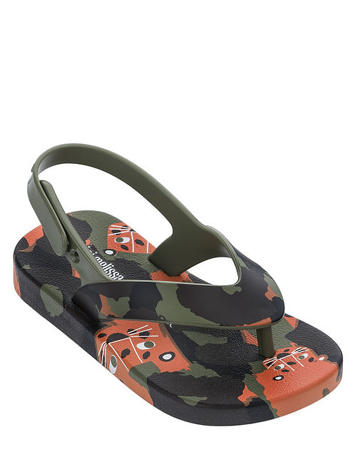 Mini Melissa Ipanema Green Floral Print Sling Back Sandal, Baby/Toddler