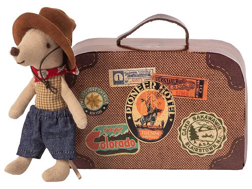 Maileg Mouse Cowboy in Suitcase, Little Brother