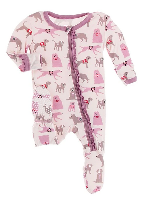 Kickee Pants - Print Muffin Ruffle Footie with Zipper in Macaroon Canine
