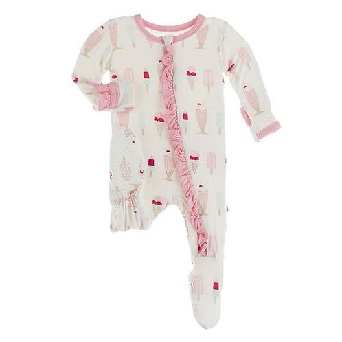 Kickee Pants - Basic Muffin Ruffle Footie with Zipper (Natural Ice Cream Shop)