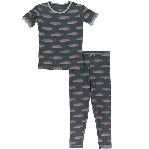 Kickee Pants - Print Short Sleeve Pajama Set in Stone Rainbow Trout