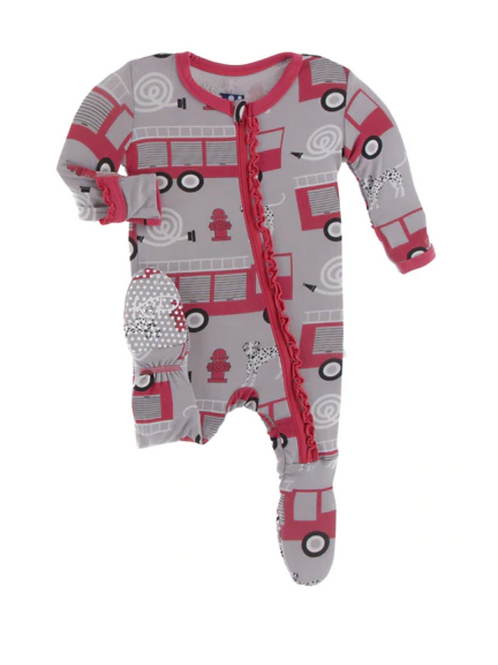 Kickee Pants - Print Muffin Ruffle Footie with Zipper in Feather Firefighter