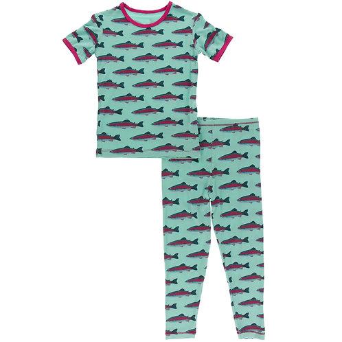 Kickee Pants - Print Short Sleeve Pajama Set in Glass Rainbow Trout