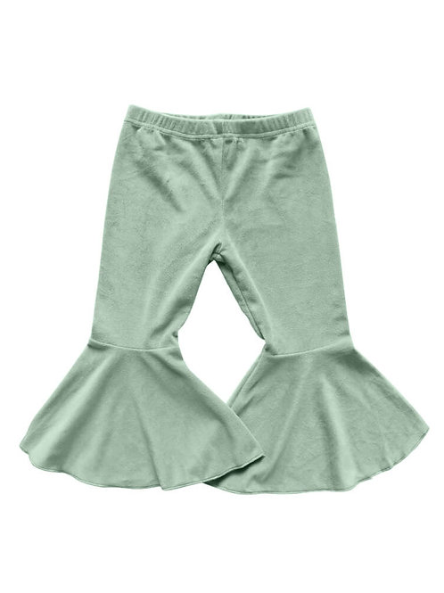Bailey's Blossoms - Lina Pleated Velour Bell Bottoms (Sage)