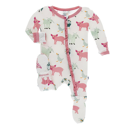 Kickee Pants - Print Muffin Ruffle Footie with Zipper (Natural Farm Animals)