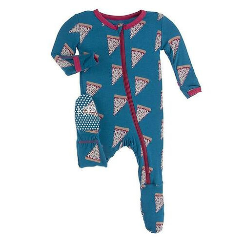 Kickee Pants - Footie with Zipper (Seaport Pizza Slices)