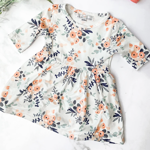 Bailey's Blossoms - Jade Half Sleeve Breezy Dress (White & Multi Floral)