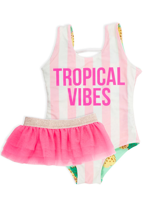 Shade Critters Reversible Pineapple Swimsuit with TuTu