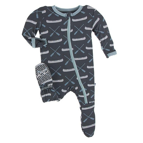 Kickee Pants - Print Footie with Zipper in Stone Paddles and Canoe