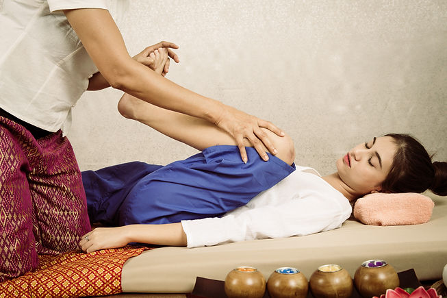 Asian young Girl get Thai style massage