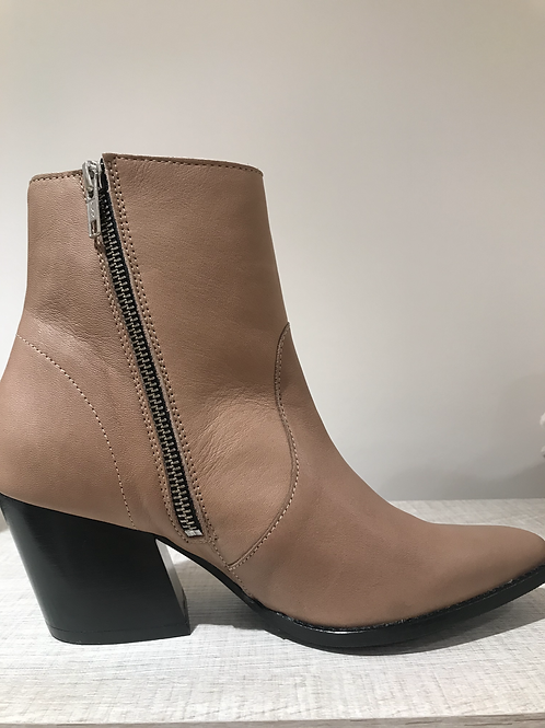 Selected leather cognac boots