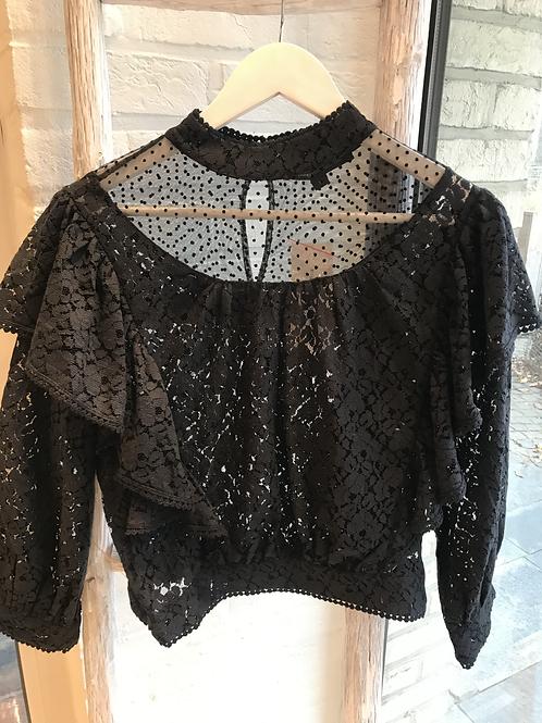 Black lace short top