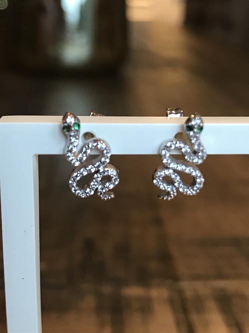 Earrings silver snake