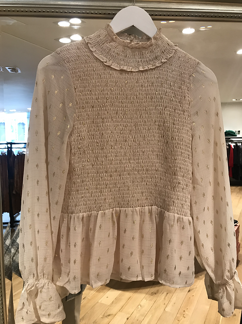Co'couture off white/gold blouse