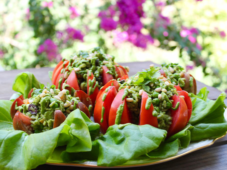 Tomatoes Stuffed with Pesto Rice