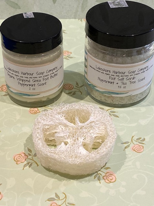 Foot Salt Scrub and Organic Whipped Butter kit