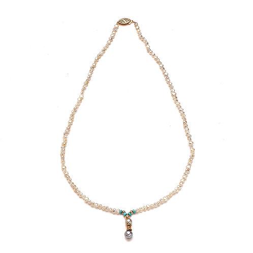 Turquoise and Japanese Keshi Necklace