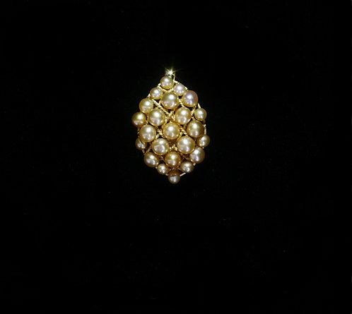 18K Brooch/Pendant with 25 South Sea Keshi Pearls